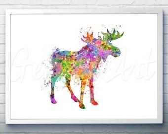 Moose Watercolor Art Print Watercolor Painting Home Decor Animal Watercolor Art Painting