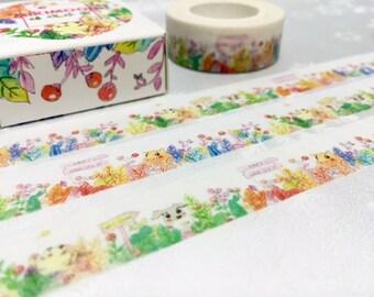 colorful animal washi tape 10M cute puppy bunny rabbit masking sticker tape farm animal cartoon forest animal tape scrapbook gift