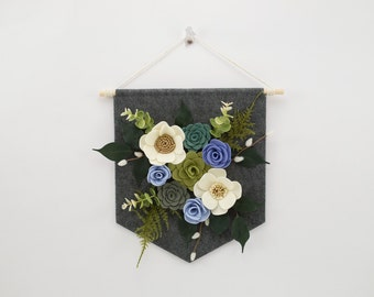 "Felt Floral Banner | ""Blues & Cream"" 