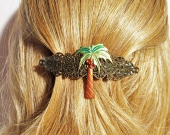 Hair Barrette Palm tree, Beach