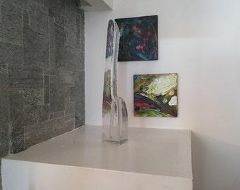 Iittala Arkipelago Taper Candle Holder - Timo Sarpaneva - Scandinavian Glass - Melted Ice - Finnish glass