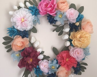 The Flora Paper Flower Wreath