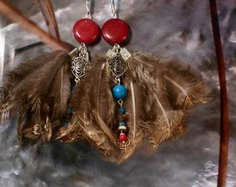 Pheasant feathers earrings