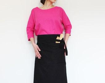 Natural linen apron, Linen apron, Linen pinafore, Black apron, Chef apron, Long linen apron,