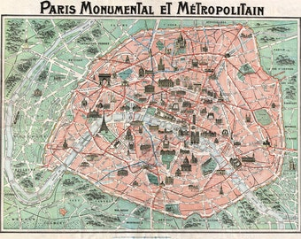 Old Map of Paris DIGITAL DOWNLOAD Ephemera.Antique PARIS Map-Old Pictorial Map of Paris France.Digital Printable Pictorial French Map