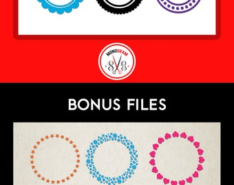 Circle Monogram SVG Cut Files/ Circle Frame Monogram SVG DXF/ Circle design for Vinyl Cutter, Silhouette, Cuttable design, Chevron Circle