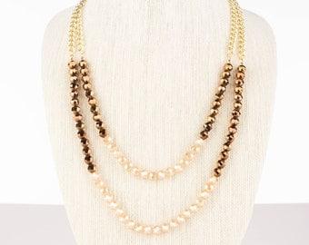 Layered Bead Necklace and Bracelet Set