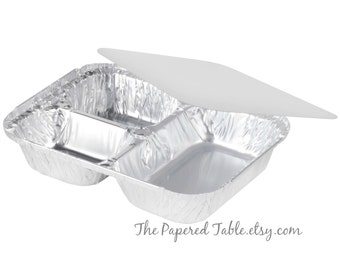 Food Tray, 10 Silver Foil Trays with Lids, Disposable Plates, Three Compartments, TV Dinner Trays, Leftover Food Container, Carry Home Food,