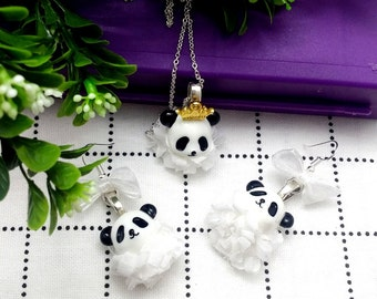 panda is the best,jewellery set, earrings and necklace