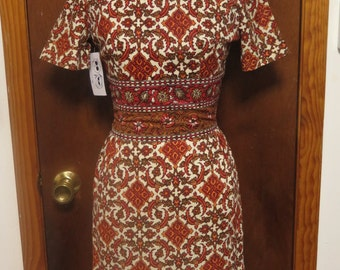 Vintage Minx Modes 1960's Mod Short Sleeve burnt Orange Damask Print Poly Wiggle Dress Sz XS