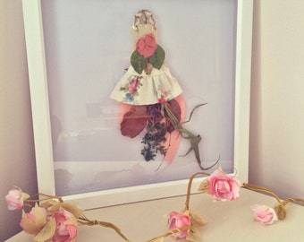 Handmade Miniature Fairy Dress, Wall Art