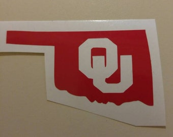 OU Sooners Football- Oklahoma University-State Decal -permanent vinyl - perfect for Yeti & Rtic cups, coolers, windows, etc. Decal only.
