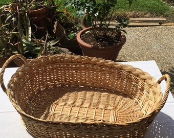 Vintage Hand-Woven Oblong Wicker Basket w/Matching Handles