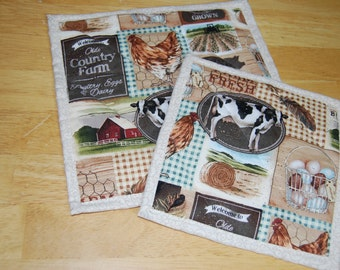 Country Quilted Hot Pads