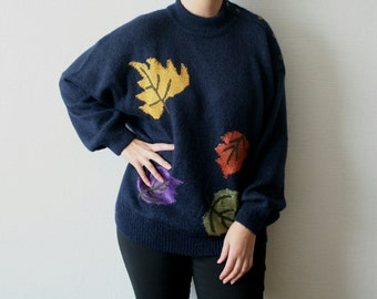 Vintage Yarell oversize sweater with fall leafs print Autumn leafs on the navy blue background Warm mohair jumper Colorful leafs