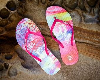 Pink Love Inspirational Moeloco Flip Flops