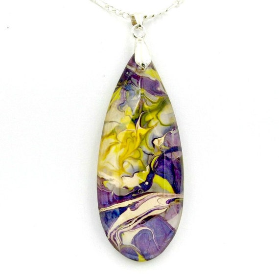 Modern Tropical Chandelier: Tropical Art Pendant Modern Abstract Necklace Handpainted