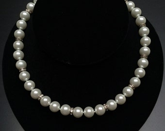 Mother Pearls with Silver Plated Roundel Crystals Necklace