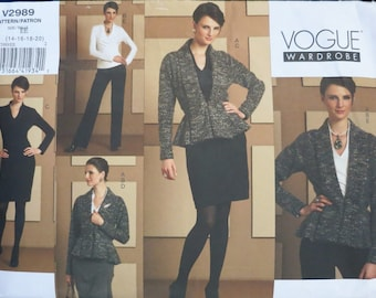 Vtg - VOUGE WARDROBE - V 2989 - Size 14 - 16 - 18 -20 - Uncut - 2007 - Jacket, Skirt, Pants, Top, Dress