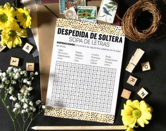 Alphabet soup, wordsearch game, bridal shower printables, shower games, Word search game, wordsearch printable, bridal shower in spanish