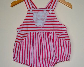 Vintage baby romper with pink and white stripes and elephant
