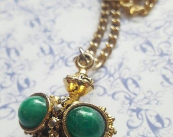 Chunky Green and Gold Pendant on Long Chain Necklace 1960
