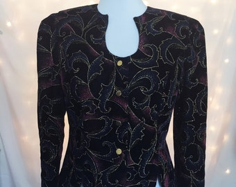 Glam Black Velvet Metallic Fitted Blazer Jacket with Gold Buttons and Abstract Blue, Magenta, and Gold Glitter Pattern - Size 6/8