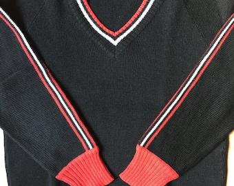 V-neck sweater Ski Black & Red