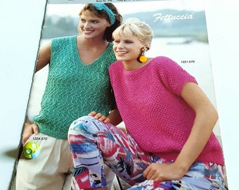 1985 Bernat Fetuccia Summer Sweaters Knitting Pattern Book