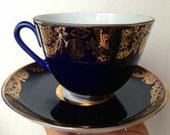Tea set of Cobalt Blue cup & saucer LFZ Porcelain Made in USSR in 1970s Russian Design Soviet vintage