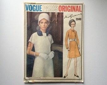 1960s B36 Designer Dress Sewing Pattern : Vogue Paris Original Molyneux 2040