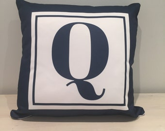 Monogram Cushion Navy Blue