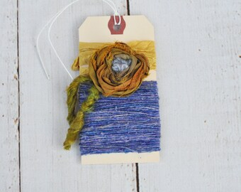 Fiber Art - Textile Embellishment Set - Handmade - Hand Dyed Silk Thread