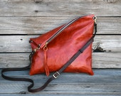 Rustic Orange Cross Body Purse - Fold Over Clutch - Leather Zip Pouch - Convertible 3 Way Purse - Black Leather Clutch