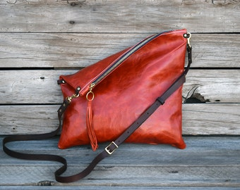Rustic Orange Crossbody Purse - Fold Over Clutch - Leather Zip Pouch - Convertible 3 Way Purse - Leather Clutch
