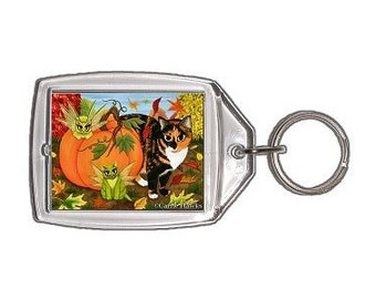 Calico Cat Keychain Fairy Cats Fall Pumpkin Autumn Fantasy Cat Art Keychain Keyring Gifts For Cat Lovers