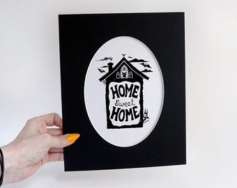 Home Sweet Home -Oval matted print - FREE SHIPPING - Bats and Cats to welcome people to your home
