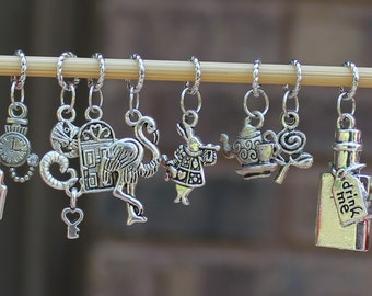 Alice In Wonderland Inspired Knitting Stitch Markers (Set of 11) - Some charms vary by set
