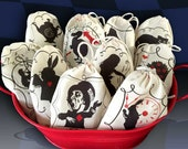 Silhouette Alice in Wonderland Party Favor Bags | 10 Designs Not Stamped | Graphic Black Red 3x5 | 4x6 | 6x8 Cotton | Tea Party | Shower