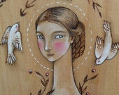 "Original woodburned & watercolour on wood plaque, ""Birdsong's Fable"" woodland folk art"