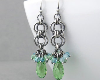 Green Crystal Earrings Silver Drop Earrings Green Earrings Sterling Silver Jewelry Peridot Earrings Crystal Jewelry - Teardrop