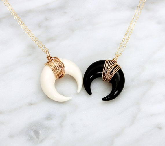 Crescent Horn Necklace: Small Horn Necklace Silver Double Horn Necklace Gold Tusk