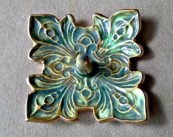 Ceramic Ring Holder Bowl fleur de lis Moss green with gold edging