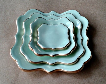 Ceramic Nesting Trinket Dishes Mint green edged in gold