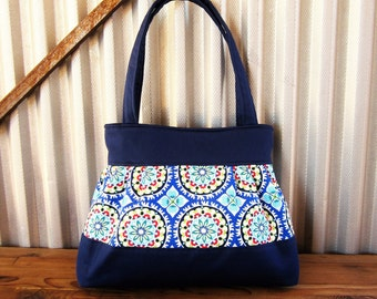 Blue Tile Tote Bag, Abstract Purse, Pleated Handag