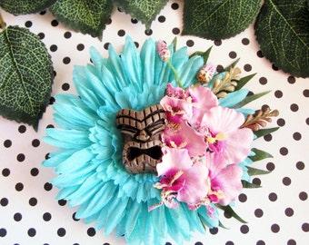 Turquoise Tiki Hair Clip, Tiki Hair, Tropical Hair Clip, Pinup Hair Clip, Beach Hair
