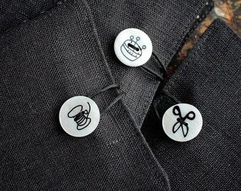 Small Linen Needle Book - Shell Button