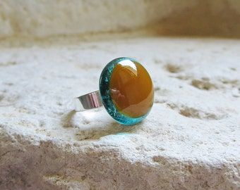 Ring, Fused Glass Ring in Aqua Blue and Caramel - Adjustable Cocktail Ring