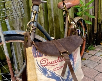 ShadyBrook Quality Seeds - Iowa - Americana Canvas Leather Handbag- vintage fabric.. Selina Vaughan