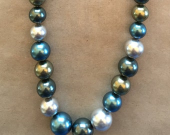 South Sea Pearls Graduated in Tones of Cream, Gold, Gray and Blue    (Item # 5192)